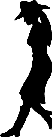 173x450 Wall Decals Leaning Cowgirl Silhouette