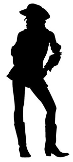 150x330 Cowgirl Silhouette 3 Decal Sticker