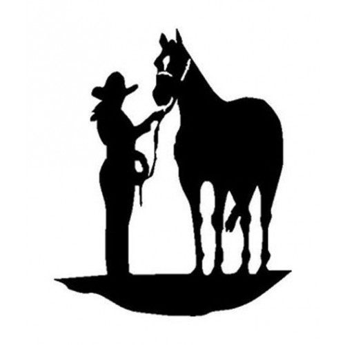 500x500 Cowgirl And Her Horse 5 Inch Vinyl Sticker Decal
