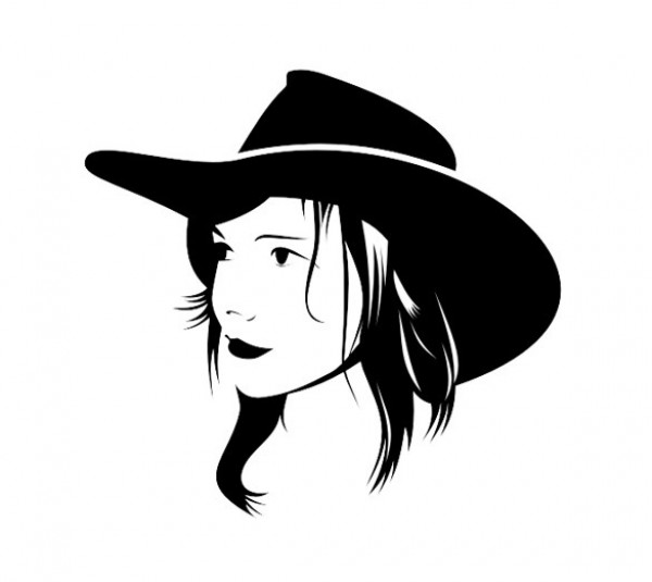 600x535 Cute Cowgirl With Hat Vector Silhouette