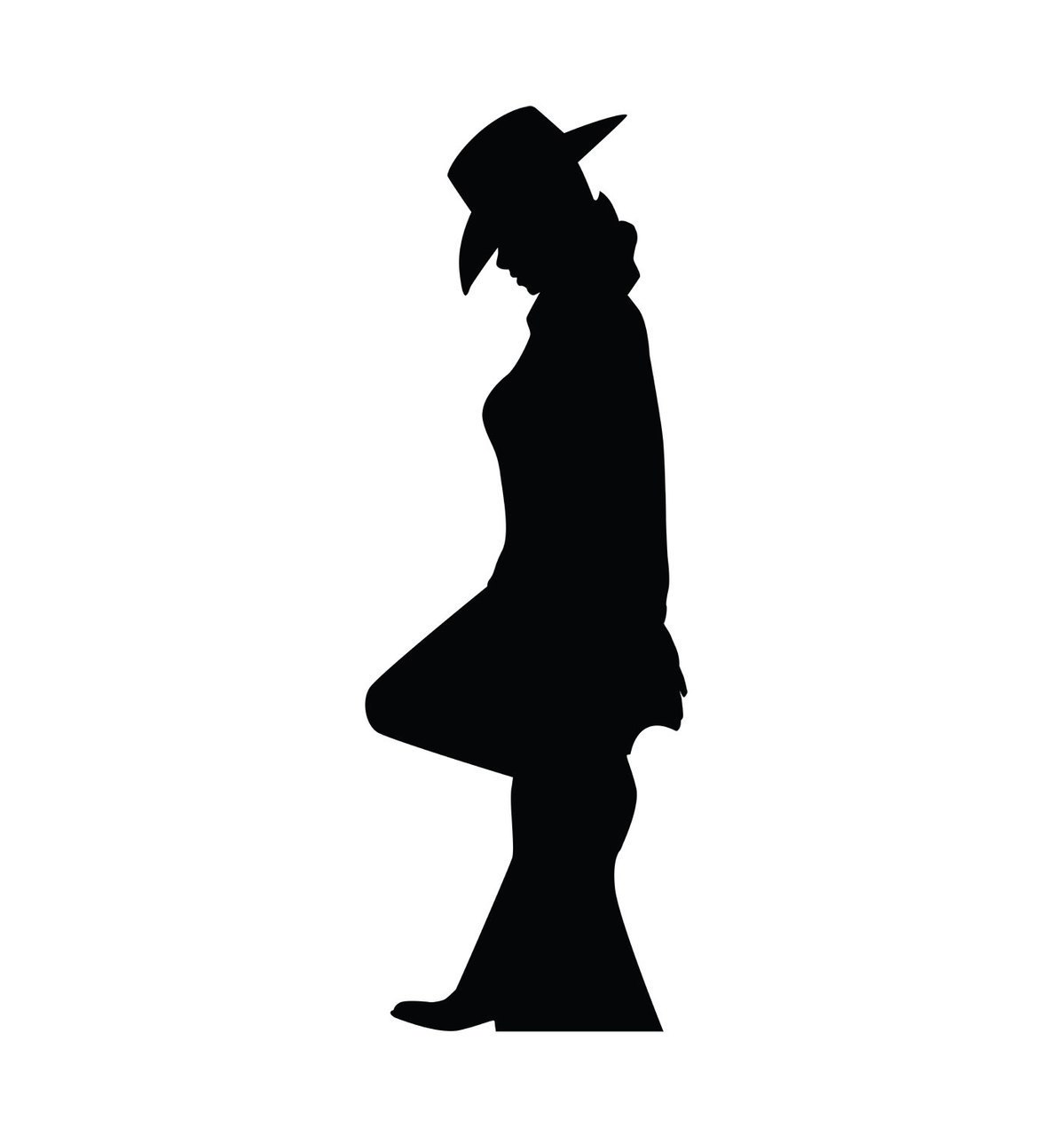 1199x1280 Life Size Cowgirl Leaning Silhouette Cardboard Standup Cardboard