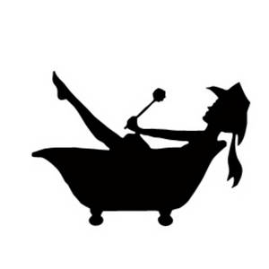 300x300 Clipart Picture Of A Cowgirl Taking A Bath Silhouette
