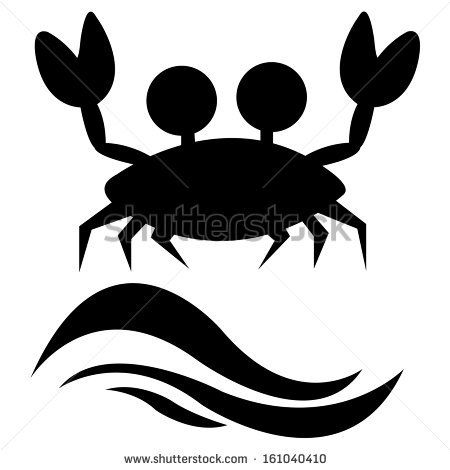 450x470 Abstract Crab Silhouette And Two Black Waves On White Background