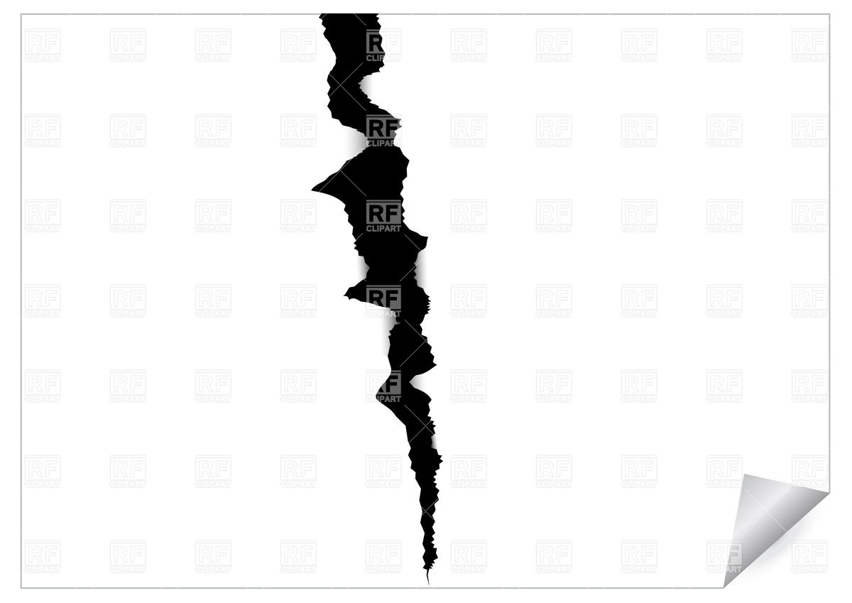 1200x849 Paper Sheet With Black Ragged Crack Royalty Free Vector Clip Art