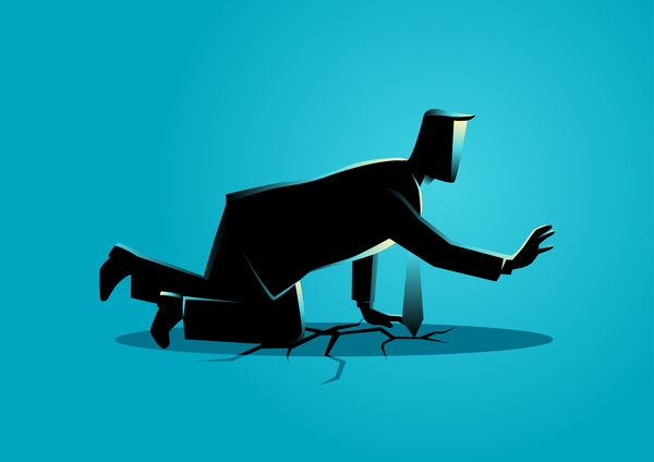 600x424 Businessman Silhouette Crawling Crack Land Vector