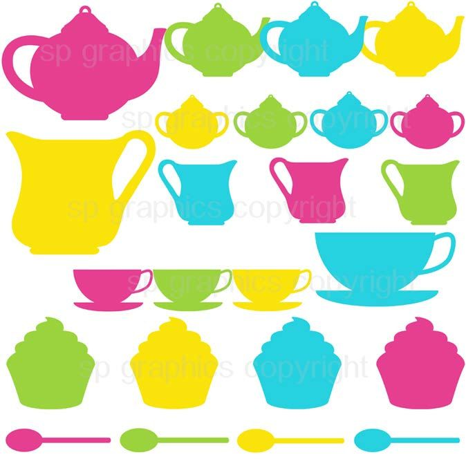 674x674 Tea Party Silhouette Clipart For Cards, Scrapbooking, Invites