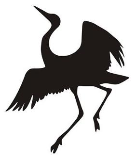 282x330 Crane Bird Silhouette V3 Decal Sticker