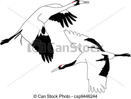 450x341 Outlines Of Japanese Crane. Eps Vector