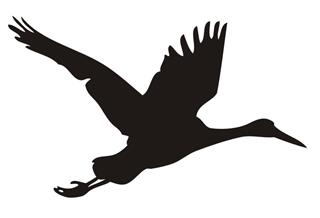 320x218 Crane Bird Silhouette V2 Decal Sticker