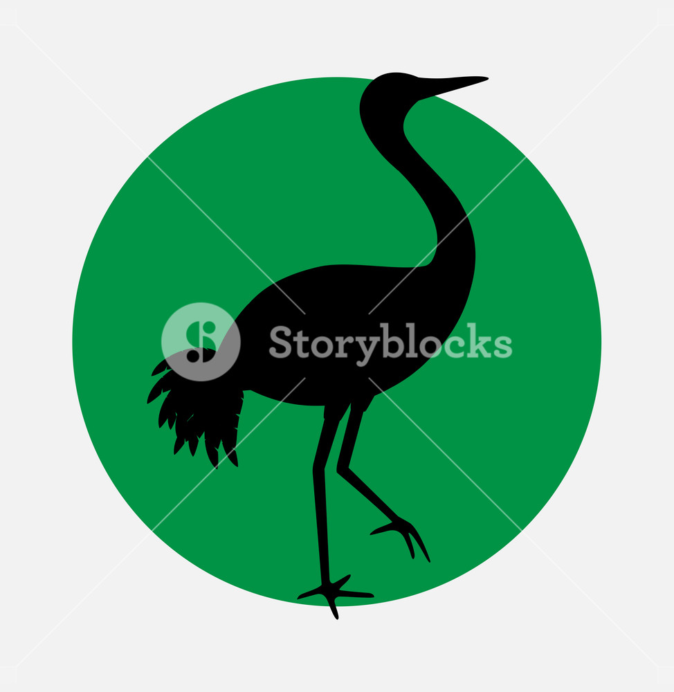 974x1000 Japanese Crane Bird Silhouette Vector Illustration Royalty Free