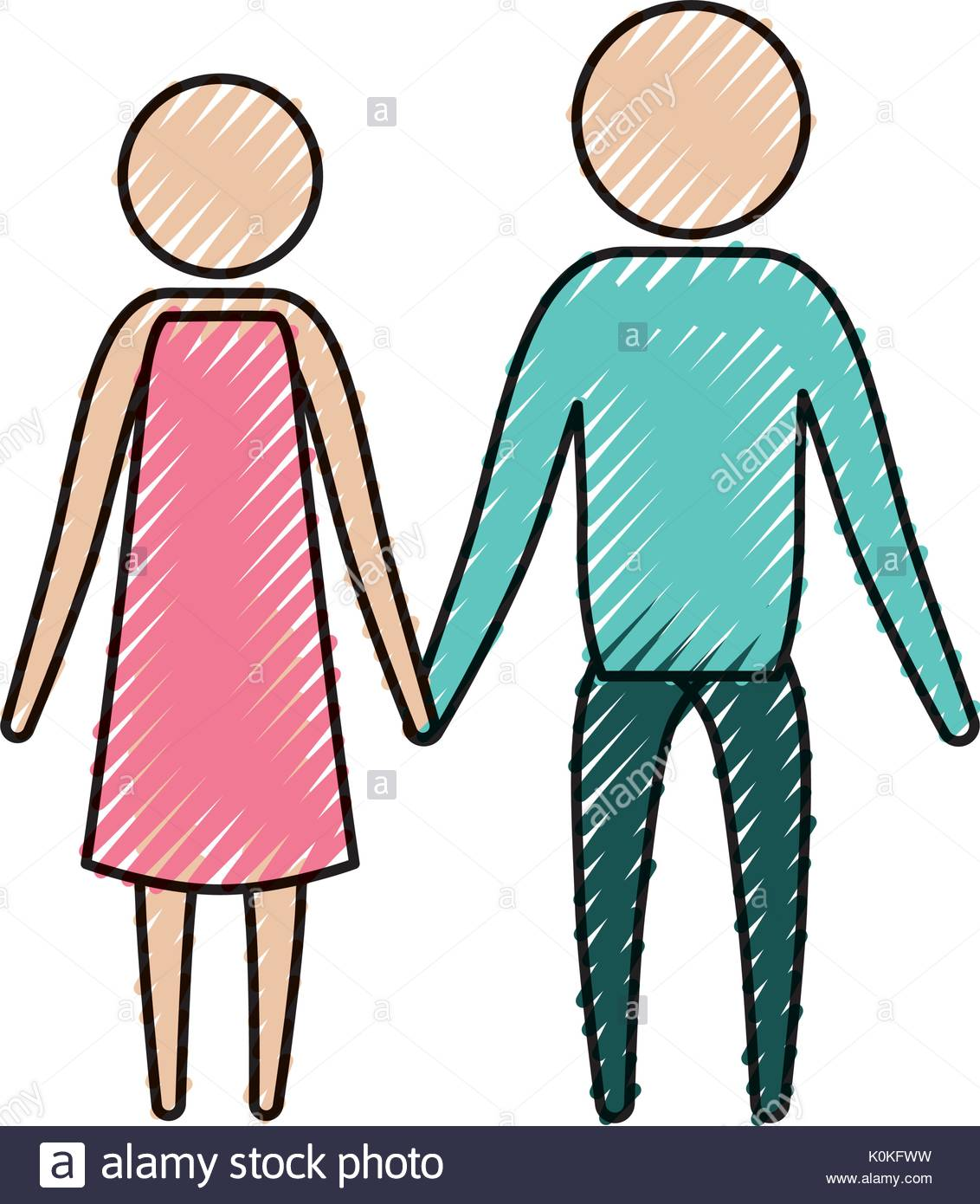 1132x1390 Color Crayon Silhouette Of Pictogram Couple Holding Hands