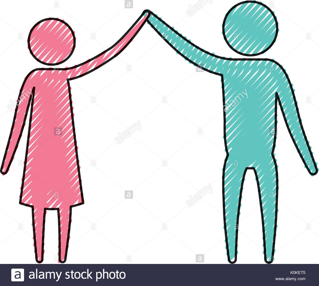 1300x1167 Color Crayon Silhouette Pictogram Couple Clashing Hands Stock