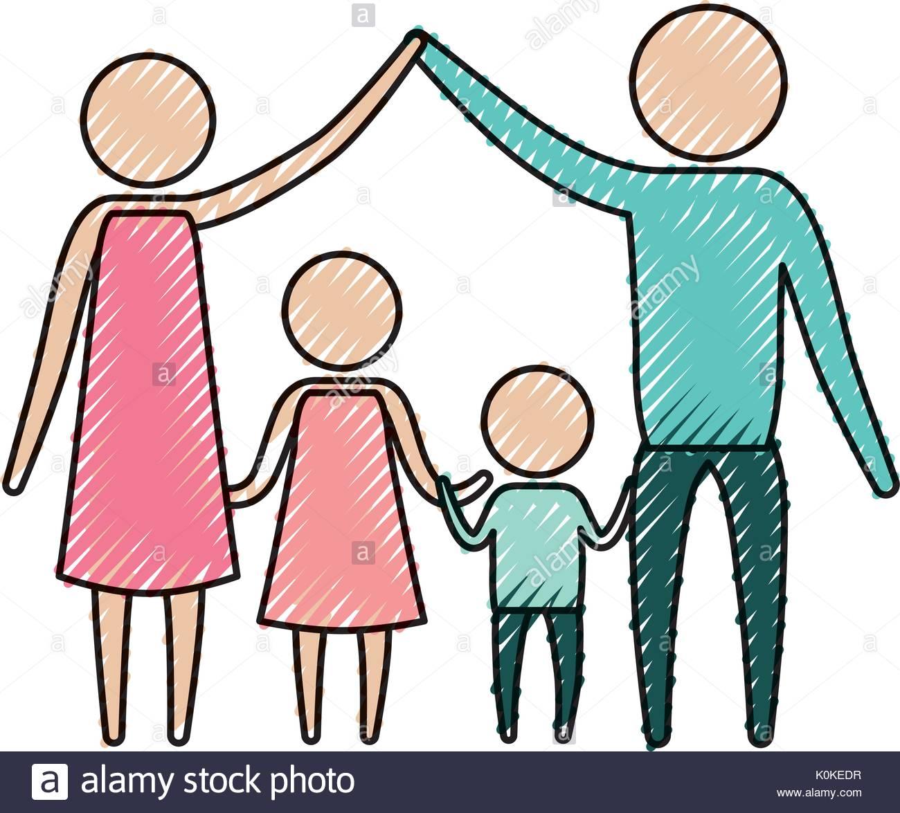 1300x1175 Color Crayon Silhouette Pictogram Parents Holding Hands Up
