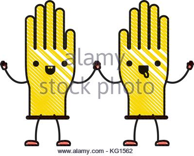 399x320 Gloves Pair In Colored Crayon Silhouette Stock Vector Art