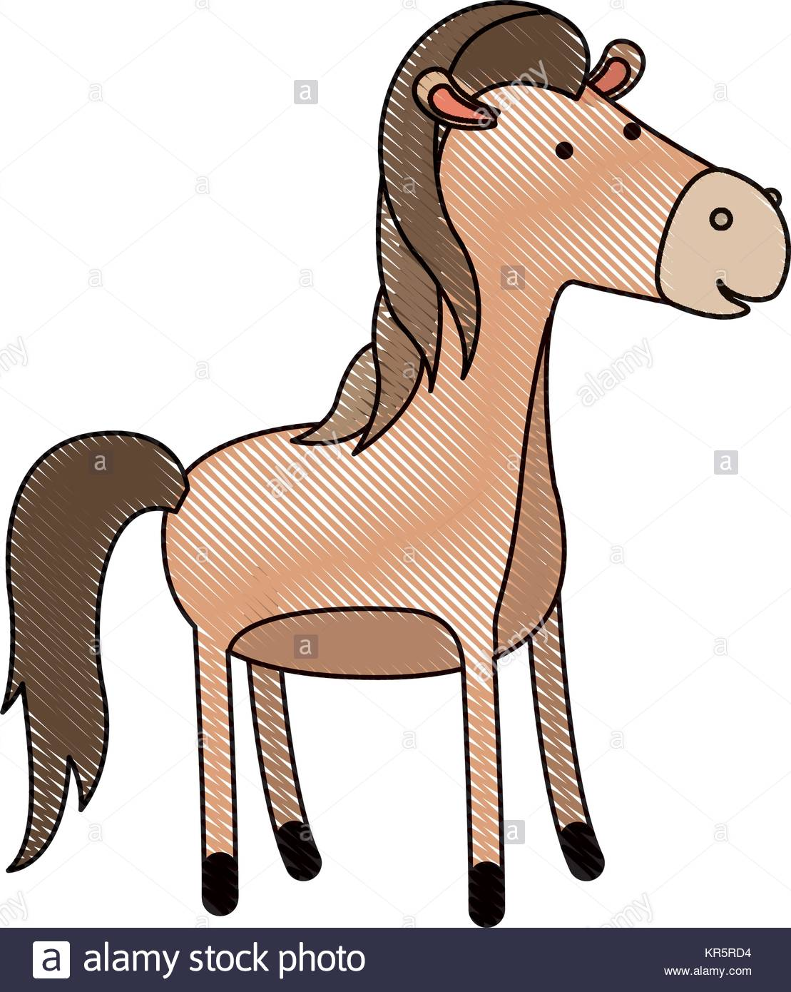 1109x1390 Horse Cartoon In Colored Crayon Silhouette With Black Contour