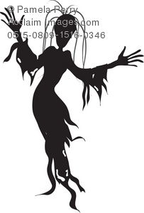 203x300 Halloween Clip Art Illustration Of A Creepy Ghoul Silhouette