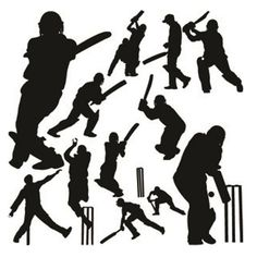 236x236 Cricket Sport Silhouette On White Background. Llustration