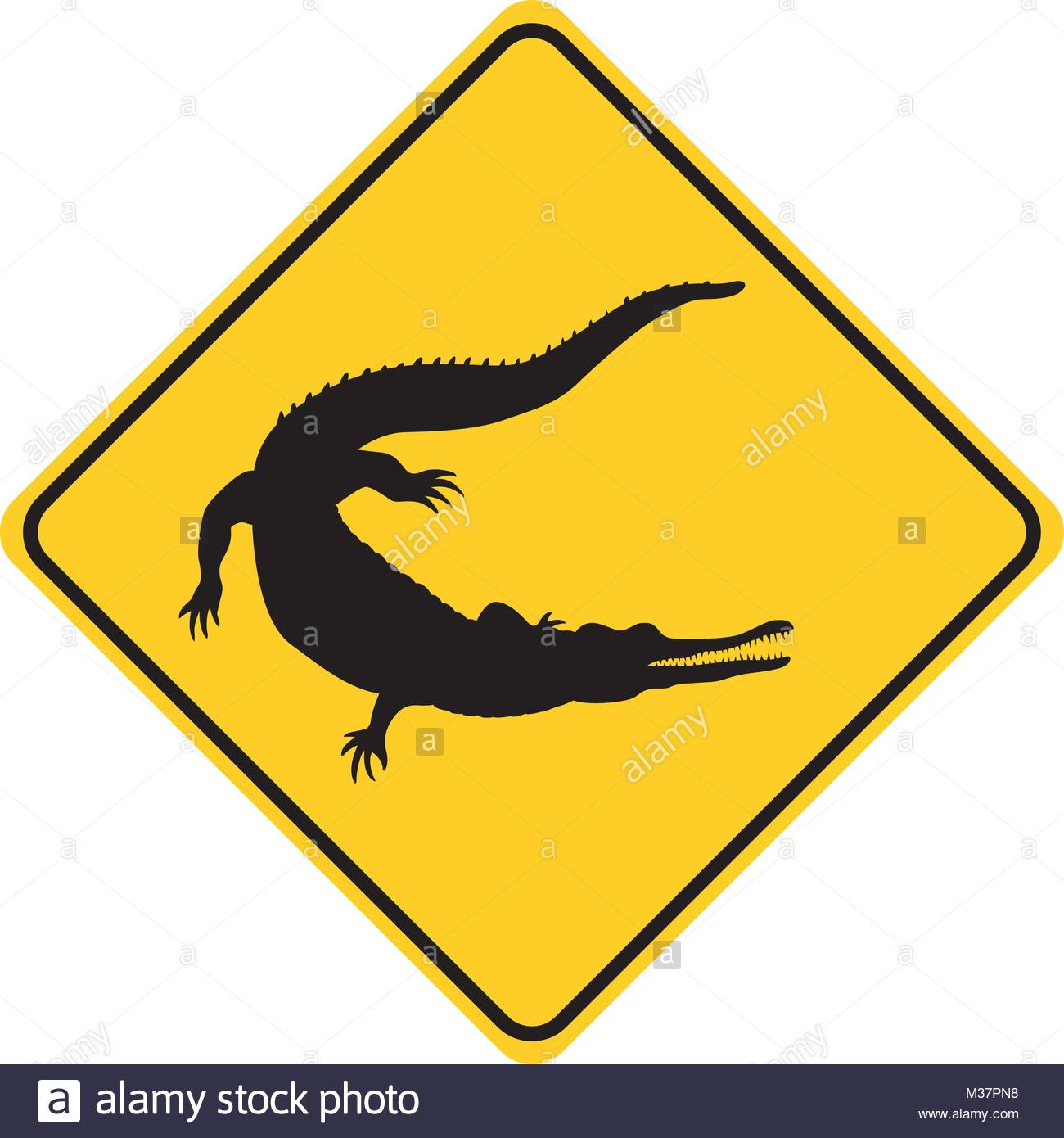 1300x1390 Crocodile Silhouette Animal Traffic Sign Yellow Vector