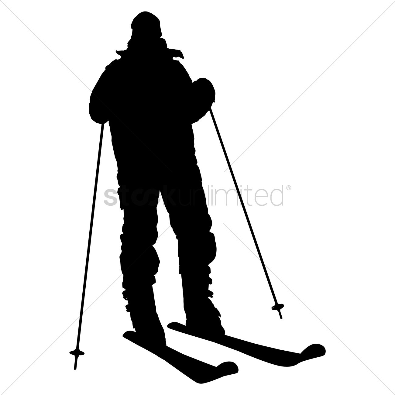 1300x1300 Silhouette Of A Skier Vector Image