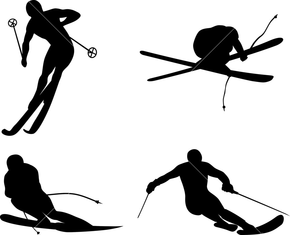 1000x812 Skiing Silhouette Royalty Free Stock Image
