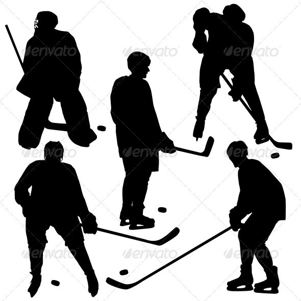 590x590 Set Of Silhouettes Of Hockey Player