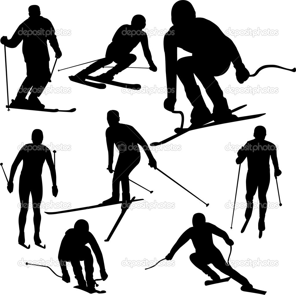 1024x1022 Skier Silhouettes Stock Vector Nebojsa78