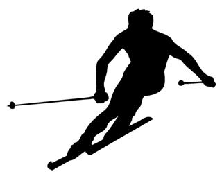 320x264 Skiing Silhouette 4 Decal Sticker