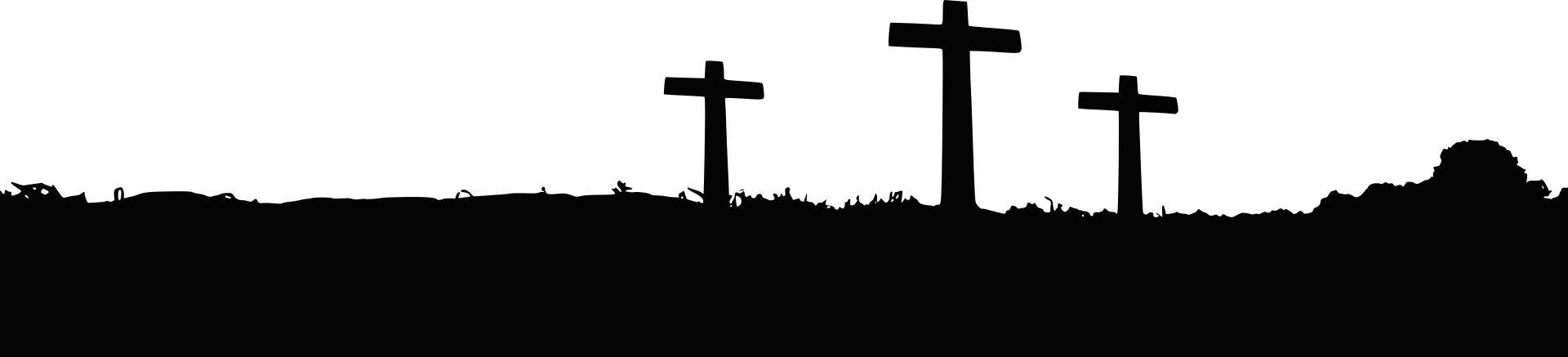 1920x437 3 Crosses Silhouette Landscape Clipart