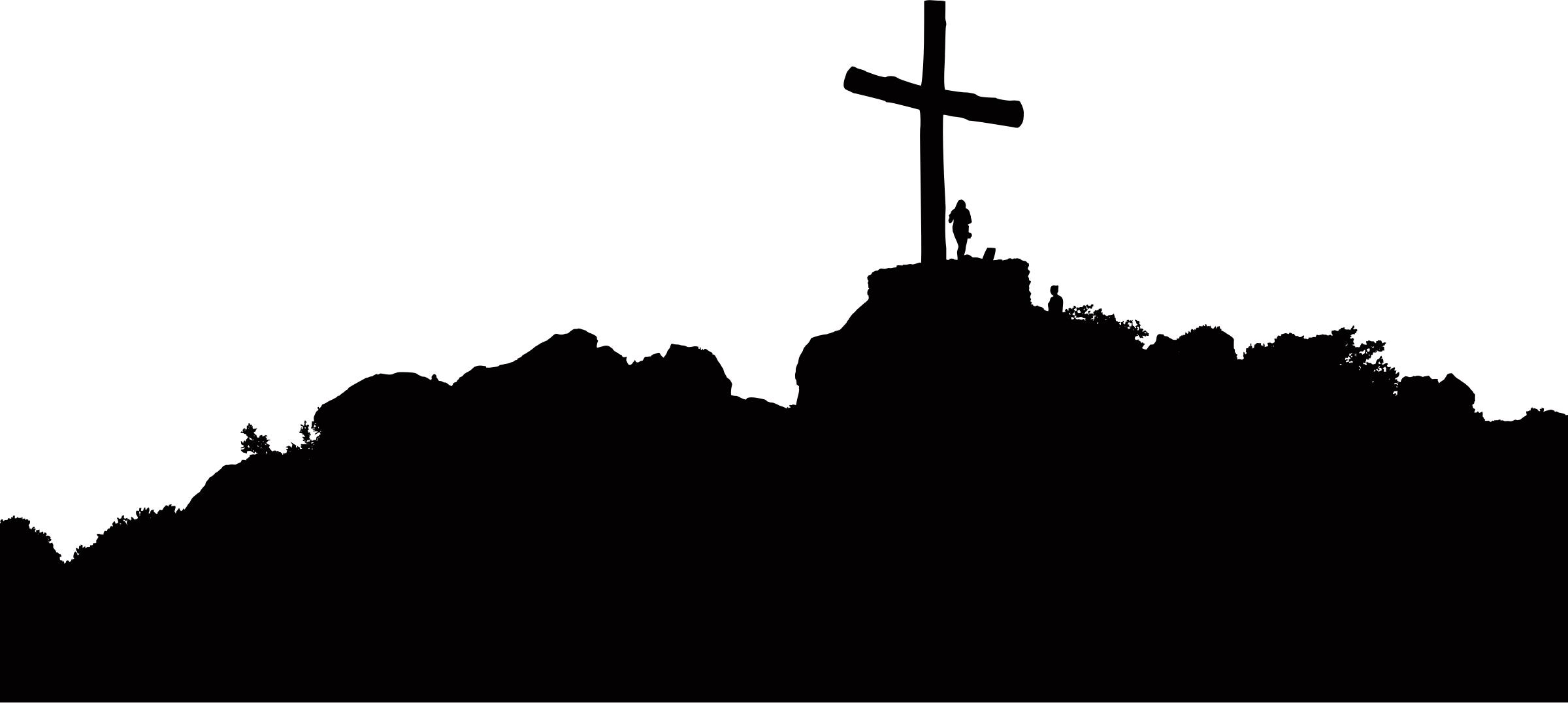 2400x1076 Cross On A Hill Silhouette Icons Png