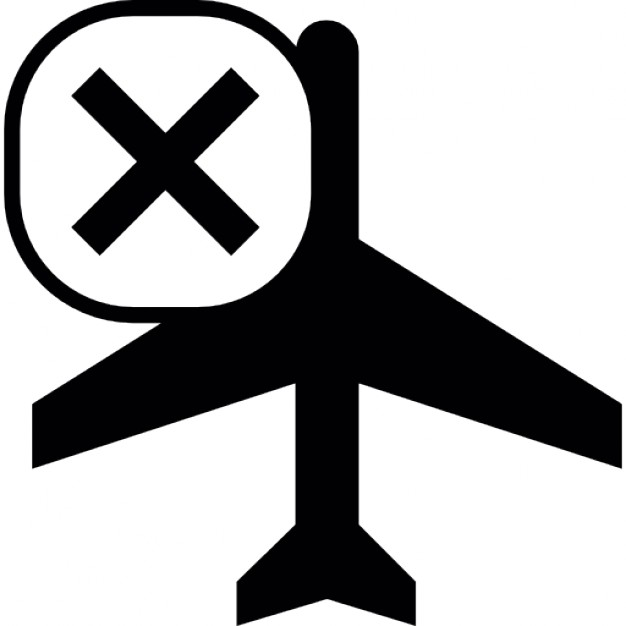 626x626 Airplane Silhouette Bottom View With Cross Mark Icons Free Download