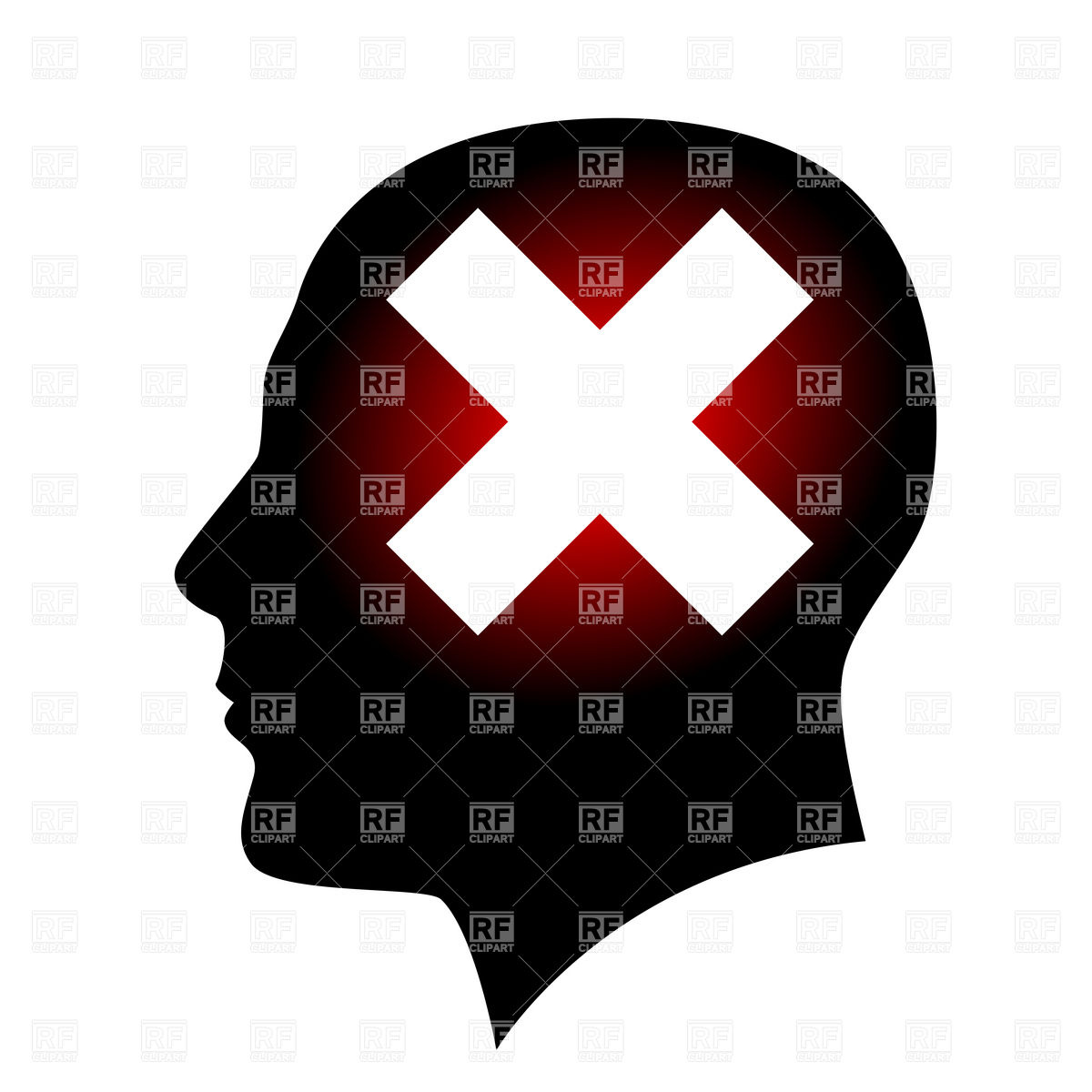 1200x1200 Silhouette Of Head With Cross Sign