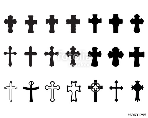 500x400 Black Silhouettes Of Different Crosses, Vector Stock Image