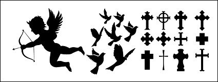 425x160 Eros, Pigeons, Cross Silhouette Icon Material, Vector Image