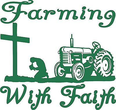 400x379 Farm Faith Christian Cross Praying Tractor Car Truck Window Vinyl
