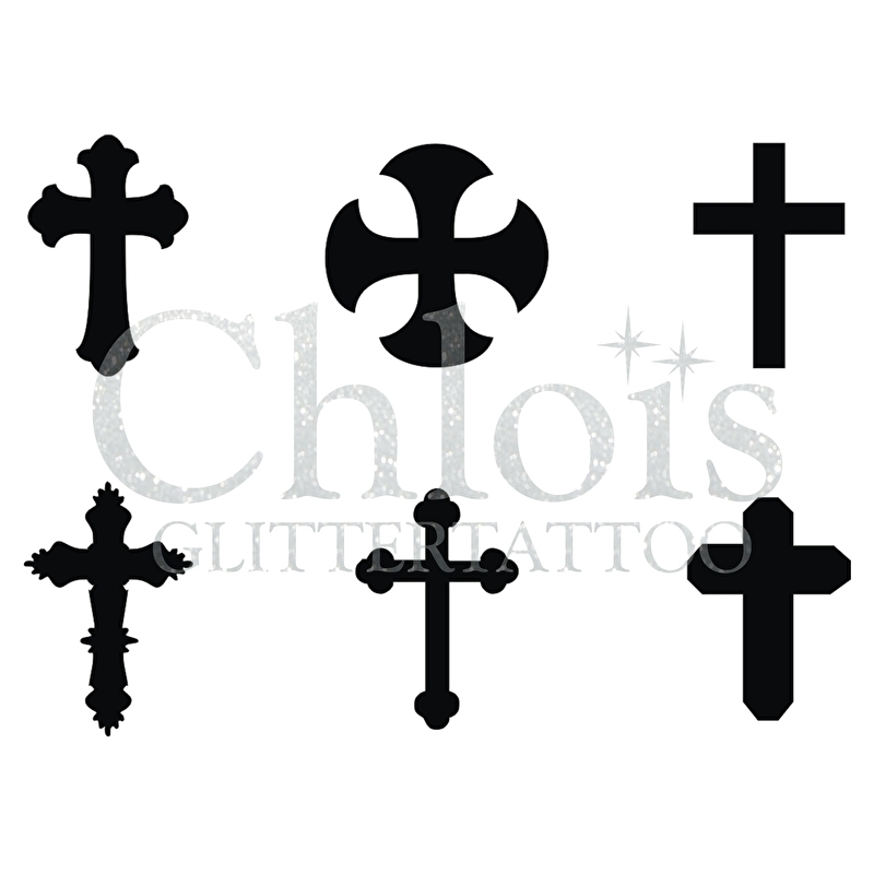 800x800 Crosses (Multi Stencil 6) Stencils Theme Sets Body Glitter