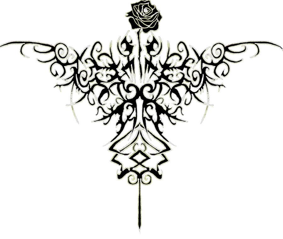 900x761 Tribal Rose Tattoo Design By Kellb123