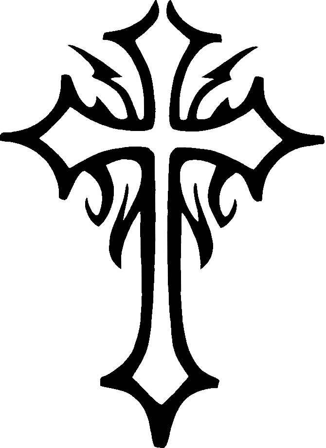 670x920 Black Ink Tribal Cross Tattoo Design
