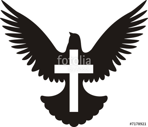 500x428 Flying Dove Silhouette With Cross Stock Image And Royalty Free