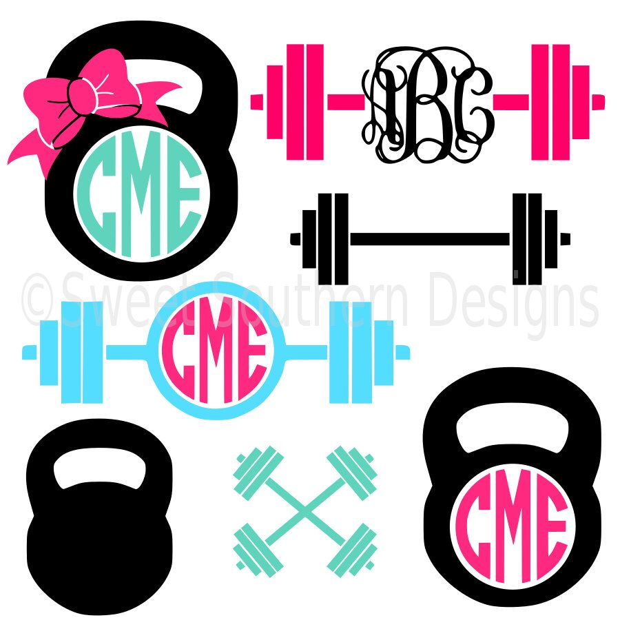 900x900 Monogram Barbell Kettle Bell Cross Crossfit Weights Svg Instant