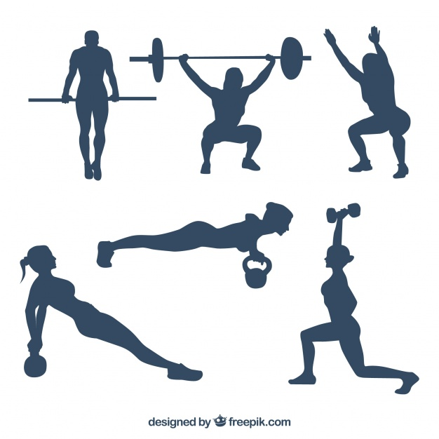 626x626 Collection Of People Practicing Crossfit Silhouettes Vector Free