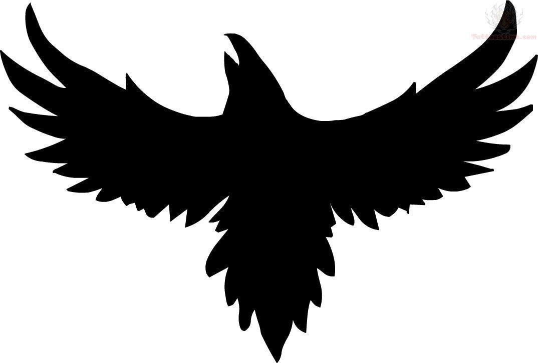 1074x726 Black Ink Crow Tattoo Design