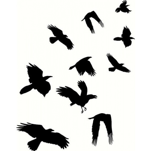 500x500 Simple Black Ink Flying Crows Tattoo