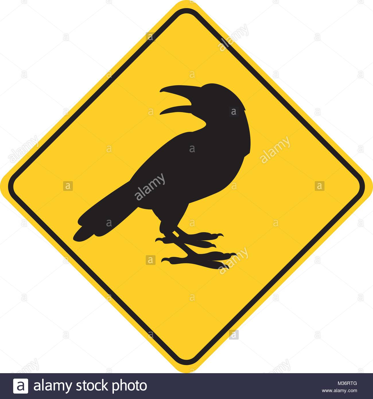 1300x1390 Crow Silhouette Animal Traffic Sign Yellow Vector Illustration