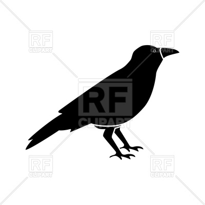 400x400 Black Crow On White Background Royalty Free Vector Clip Art Image