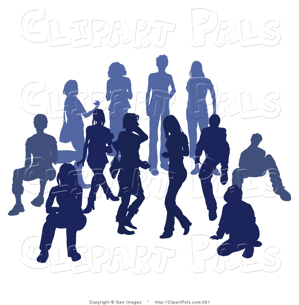 1024x1044 Pal Clipart Of A Blue Group Of Silhouetted People Standing