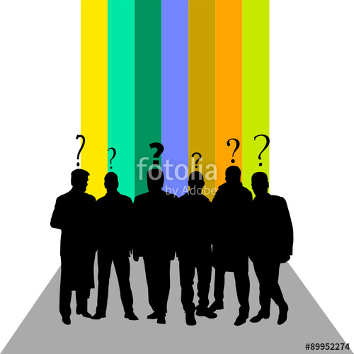 500x500 People Silhouette With Question Mark Color Vector Stock Image