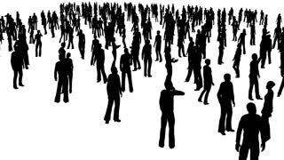 320x180 4k The Crowd Of Stand People, All In Silhouette, On A White