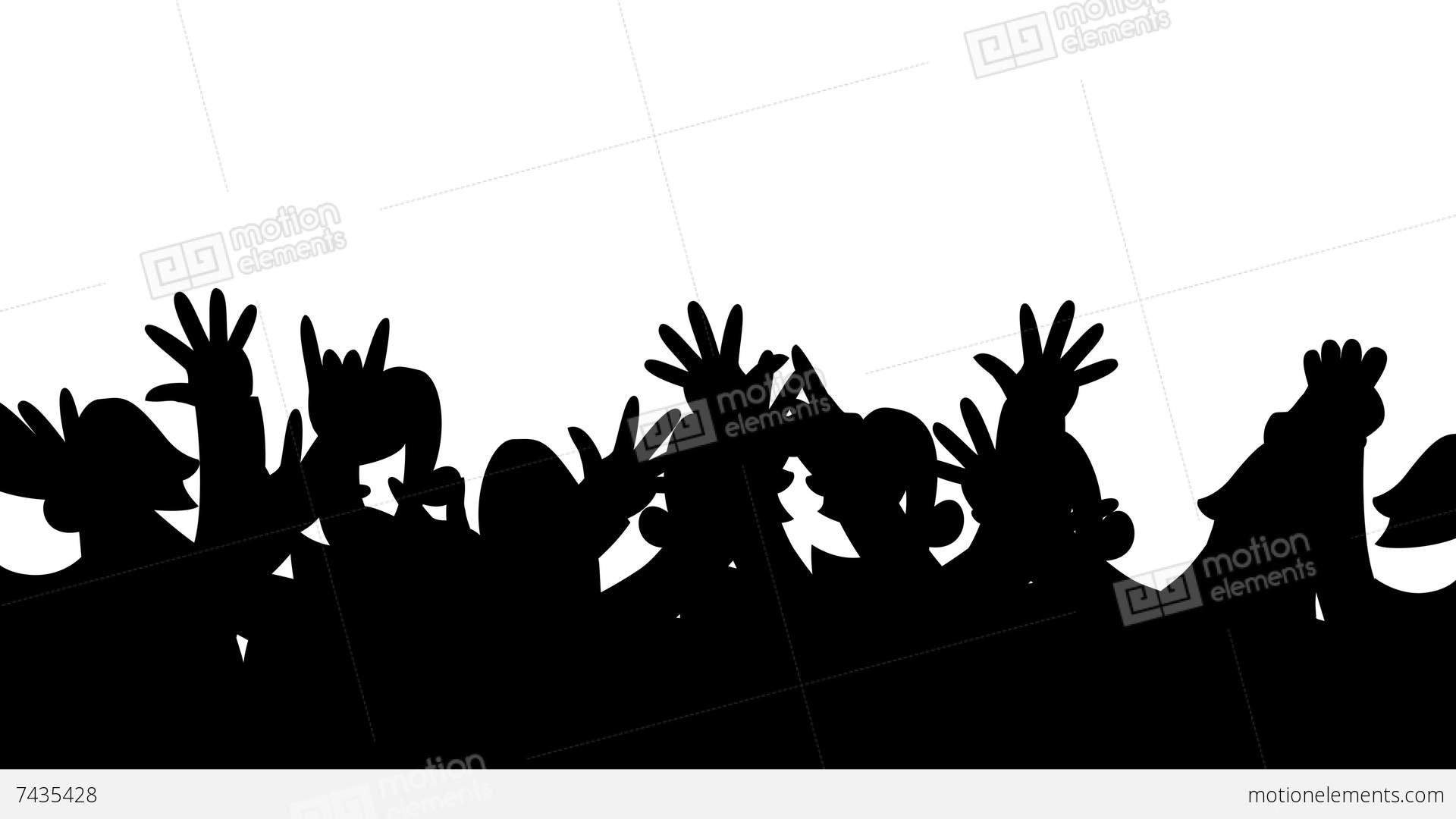 1920x1080 Cheering Crowd Silhouettes Looping Animation Stock Animation 7435428