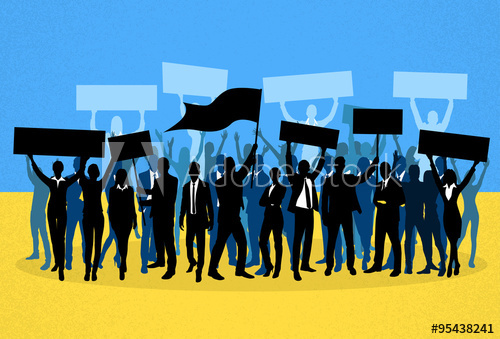 500x339 Protest People Crowd Silhouette Over Ukraine National Flag