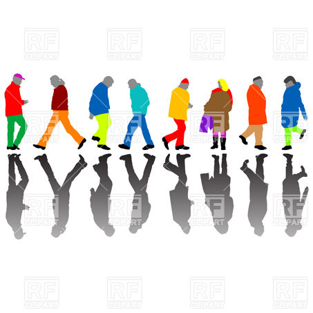 453x453 Silhouettes Of Walking People Royalty Free Vector Clip Art Image